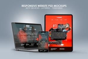 响应式网站设计效果图多设备预览样机 Responsive Website PSD Mock-ups 2019插图1