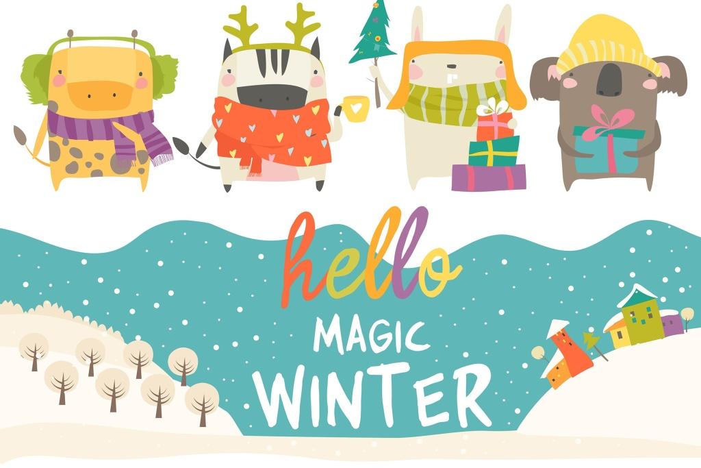 冬季主题可爱卡通动物手绘矢量插画素材 Vector set of cute animals with winter theme插图