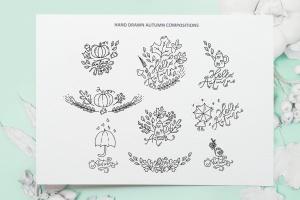 秋季花卉元素手绘线条画矢量插画素材 Monoline vector autumn floral elements插图10