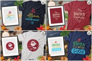 20款圣诞节主题复古风T恤印花图案设计素材包 Christmas T-Shirt Designs Retro Bundle. Xmas Tees插图6