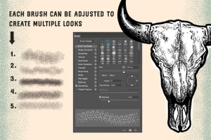 点画法艺术创作效果PS&AI绘画笔刷套装 Stipple Brush Set for Photoshop and Illustrator插图3