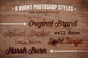 电刻笔灼烧文本图层样式 Burn Baby Burn Woodburning FX Kit插图5