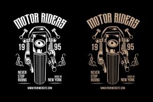 摩托车骑手手绘插画T恤印花设计模板 Motorcycle Riders T shirt Design Template插图1