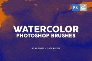 30款水彩绘画手工制作纹理肌理PS笔刷v2 30 Watercolor Texture Photoshop Brushes Vol. 2插图1