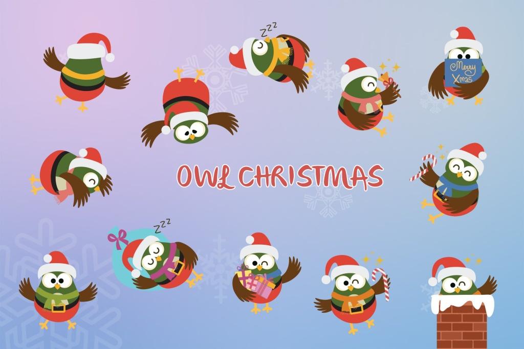 圣诞节主题猫头鹰卡通形象矢量插画 Christmas Owl插图