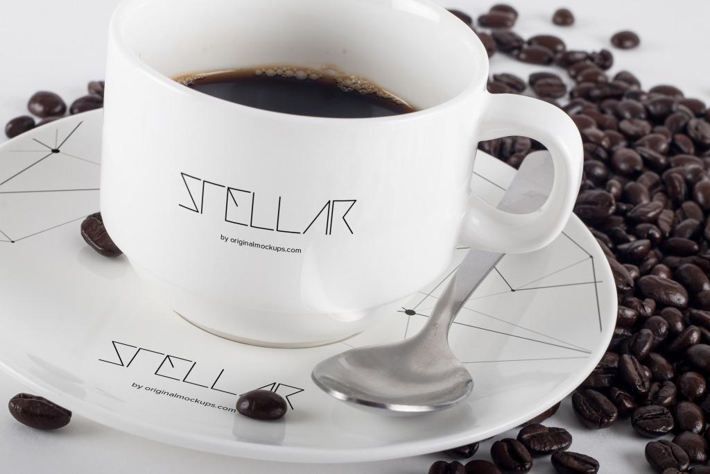 咖啡瓷杯咖啡店咖啡品牌Logo商标设计预览样机01 Coffee Cup Mockup 01插图