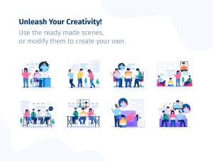 一流设计素材网下午茶:团队合作矢量插画套装[Ai]插图6