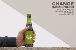 手持啤酒瓶外观印刷图案设计预览样机模板 Rustic Beer Mockup插图2