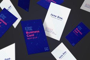 UK标准尺寸高端企业名片设计样机模板05 UK Business Card Mockup 05插图2