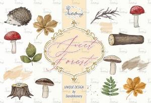 甜蜜森林手绘设计插画PNG素材 Sweet Forest design插图4