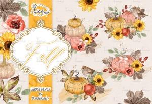 秋季南瓜水彩手绘剪贴画PNG素材 Fall Pumpkin design插图2
