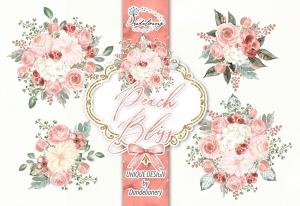 桃花色水彩手绘花卉剪贴画PNG素材 Watercolor Peach Bliss design插图3