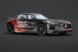 超级豪华跑车梅赛德斯SLS AMG样机模板 Supercar Mercedes SLS AMG Mock-Up插图2
