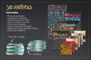 300+金光闪闪金箔图层样式 300+ Gold Glitter Foil Styles插图2