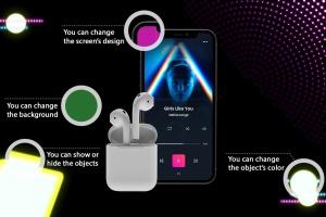 在线音乐APP设计效果图样机模板 Neon Music App MockUp插图2