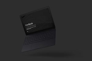 悬浮状态MacBook笔记本电脑屏幕界面设计预览样机 Clay MacBook Mockup, Floating插图4