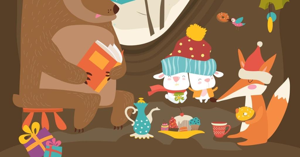 可爱动物庆祝圣诞节矢量手绘图案素材 Cute animals celebrating Christmas in den. Vector插图