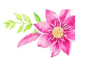 婚礼请柬、结婚贺卡水彩大丽菊花束剪贴画  Watercolor Wedding Dahlia Bouquet插图3