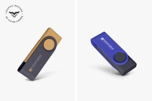 创意便携U盘产品外观设计效果图样机 USB Pendrive Mockups插图1