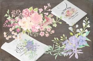 水彩花卉手绘图案剪贴画PNG素材 II Set of 8 Watercolor Clip Art Sprays II插图(2)