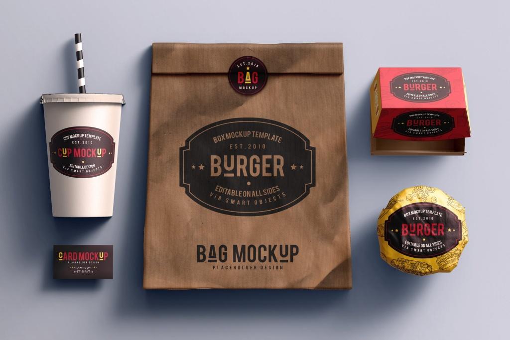 快餐品牌VI设计效果图样机模板 Fast food branding mock-up插图