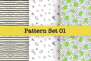 手绘图案矢量图案纹样设计素材v1 Hand-drawn Pattern Set 01插图1