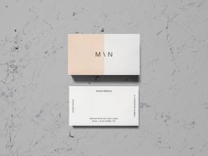 企业名片双面设计预览样机 Overhead Business Card Mockup插图2