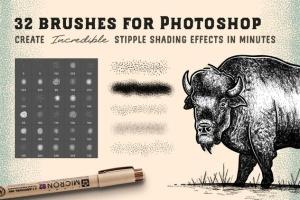 点画法艺术创作效果PS&AI绘画笔刷套装 Stipple Brush Set for Photoshop and Illustrator插图2