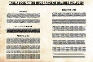 复古画笔线条艺术AI笔刷 Finest Vintage – Affinity Brushes插图9