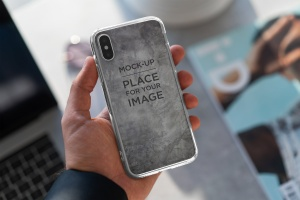 iPhone Xs透明手机壳外观设计效果图样机v2 iPhone Xs Clear Case Mock-Up vol.2插图7