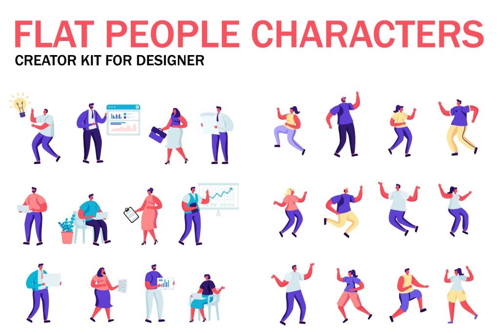 扁平化设计风格虚拟人物角色图形设计工具包v1 Flat People Character Creator Kit插图