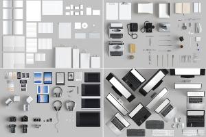超过150个项目顶视角巨大的办公用品文具VI样机展示模型mockups插图3