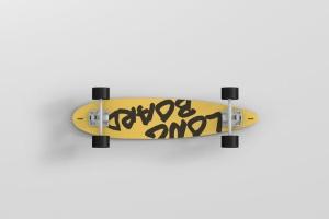 长滑板手绘图案设计样机模板 Skateboard Longboard Mockup插图5
