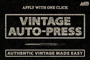 复古怀旧自动印刷效果图层样式 Vintage Auto-Press插图1