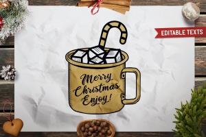 圣诞节主题马克杯手绘图案T恤印花设计素材 Christmas Mug T-Shirt. Vector Print, Holiday SVG插图2