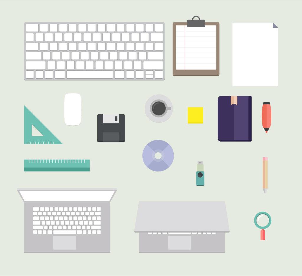 扁平设计风格办公桌场景矢量插画 Flat Office Desk插图