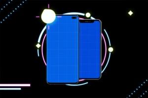 高质量霓虹灯风格iOS/Android手机样机模板 Neon IOS & Android插图11