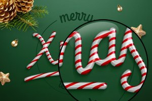 圣诞节日气氛创意海报字体PS图层样式 Christmas text effect插图2