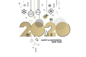 圣诞节&2020年新年主题创意数字矢量插画设计素材v1 Happy New Year 2020 business greeting card插图2