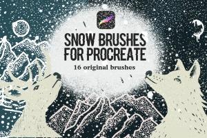 雪景手绘必备利器-Procreate雪花图案笔刷 Snow Brushes for Procreate插图1