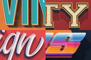 复古设计风格3D立体字体样式PSD分层模板v7 Vintage Text Effects Vol.7插图14