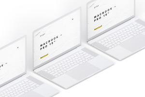 15寸MacBook Pro苹果笔记本电脑左视图样机模板 Clay MacBook Pro 15″ with Touch Bar, Left Isometric View Mockup插图3