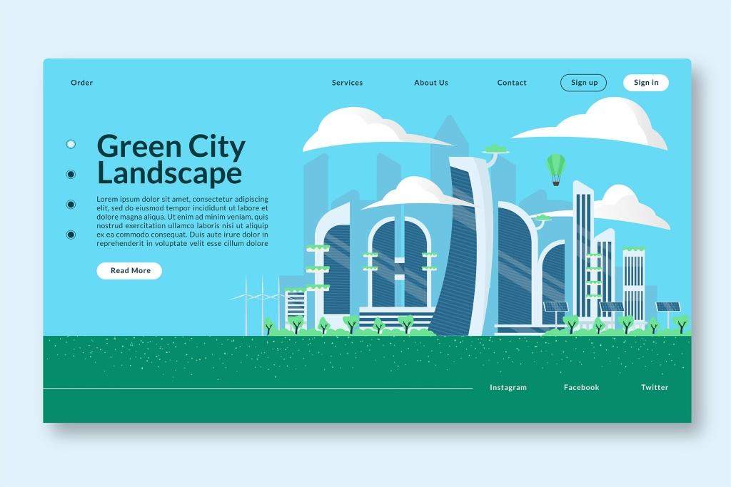 未来风格绿色城市景观矢量插画素材 Green City Landscape – Web Header & Vector GR插图