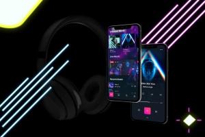 在线音乐APP设计效果图样机模板 Neon Music App MockUp插图7