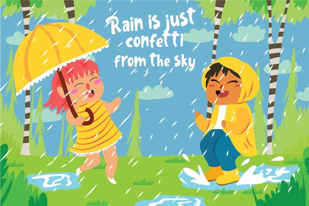 夏天雨季主题儿童矢量插画素材 Raining – Vector Illustration插图