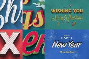 圣诞节主题文本图层样式v1 Christmas Text Effects Vol.1插图4