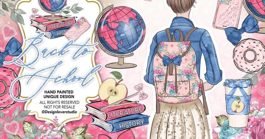开学季水彩手绘风格剪贴画素材合集 Back to School Clipart插图