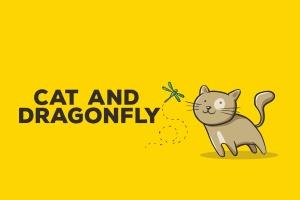 猫咪&蜻蜓矢量插画设计素材 Cat and Dragonfly Illustration Artwork插图1