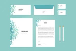 企业品牌办公用品样机模板 Branding Identity Mock Up – Teal Tirangles插图1