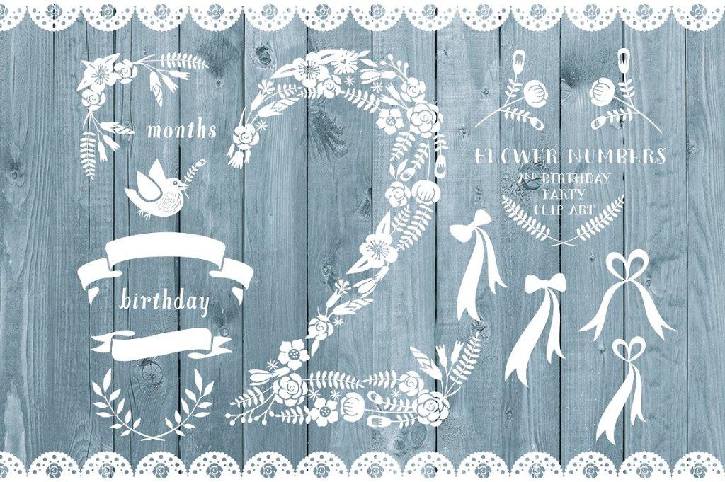 白色花朵叶子的数字2造型装饰素材 Floral number two, 2nd celebration插图